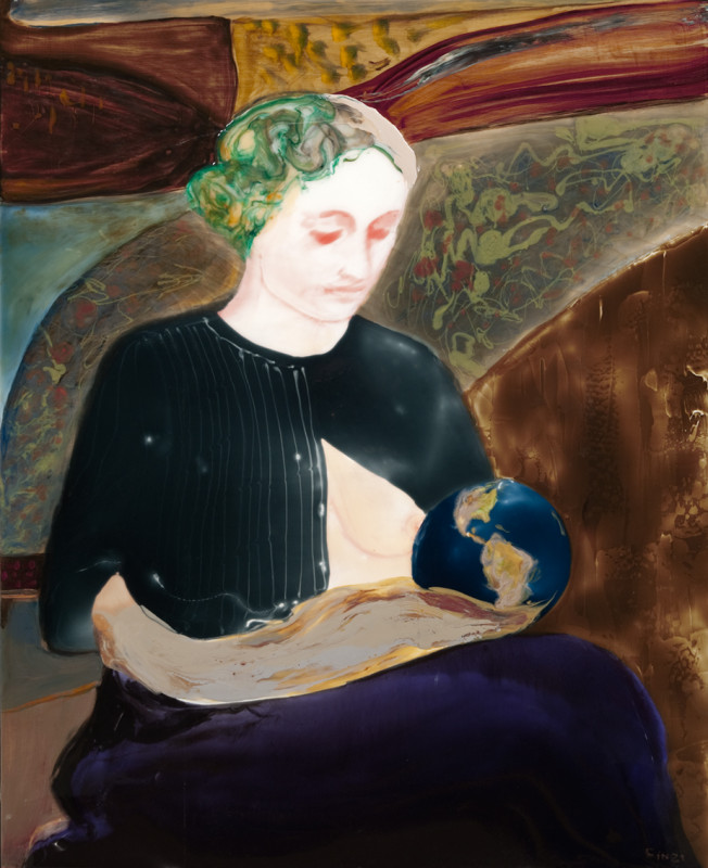 Madonna breastfeeding Earth, 48 x 39, 2008, epoxy resin, mixed media on wood, Eric Finzi