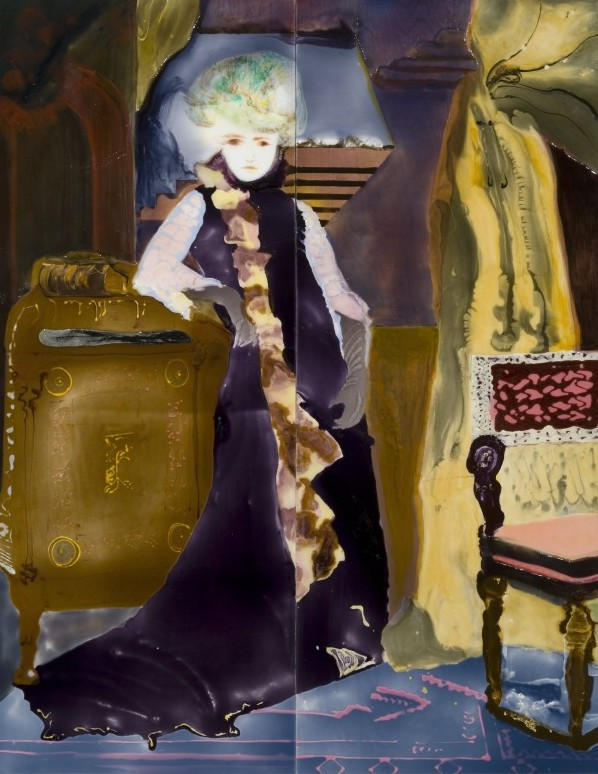 Sarah Bernhardt in her study, epoxy resin,mixed media on wood, 82 x 64,2007