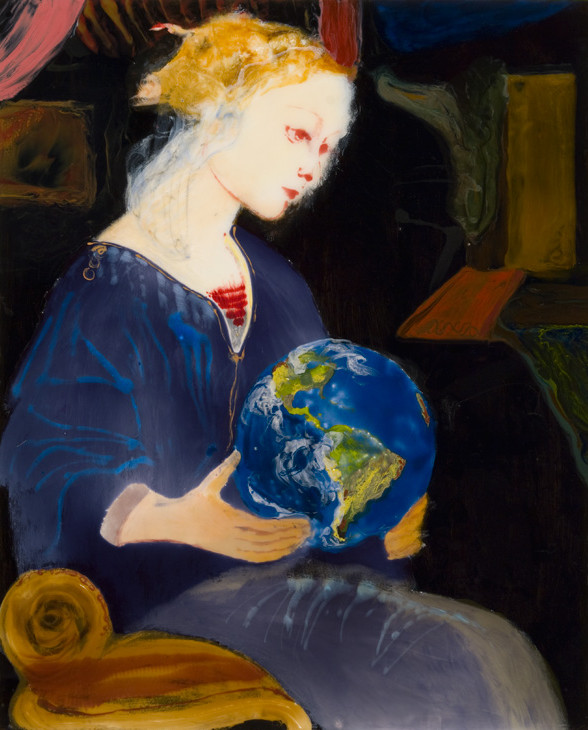 Madonna-with-Earth,-epoxy-resin,-mixed-media-on-wood,-48-x-39,-2007