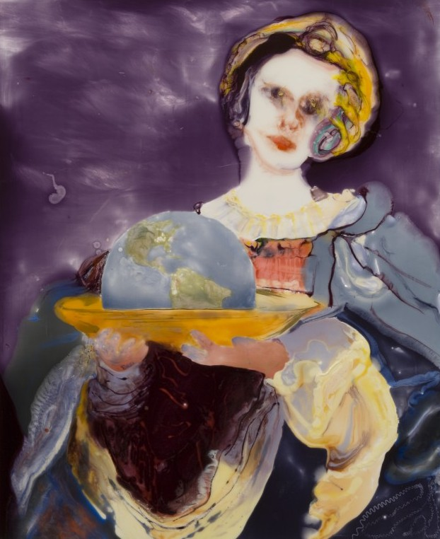 Salome with the head of Earth, epoxy resin, mixed media on wood, 44 x 36, 2007